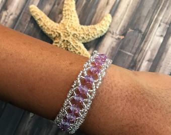 Lavender Beaded Cuff Bracelet