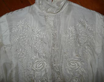 Antique White Silk Blouse. High Neck, Lace and Embroidery, Center Back Button Opening.