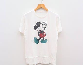 Vintage MICKEY MOUSE Walt Disney Cartoon Animation White Tee T Shirt Size L