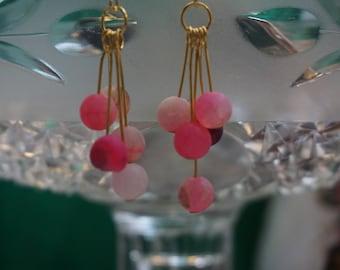 handmade pink beaded earrings