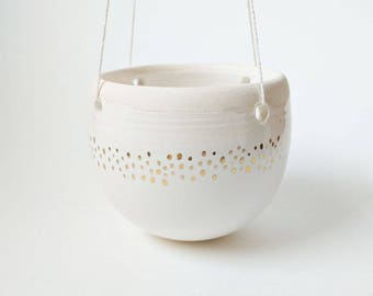 Gold Speckled Hanging Planter