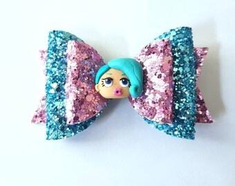 LOL surprise doll glitter hair bow - girls pink and blue hair clip - hair accessory