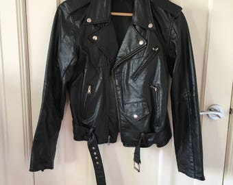 Womens vintage leather biker jacket size small