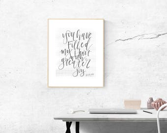 You Have Filled My Heart with Greater Joy - Psalm 4:7 - Hand Lettered