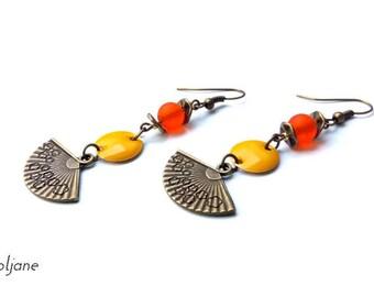 Bronze earrings yellow sequin Pearl orange yellow orange ♦ bronze earrings fan charm
