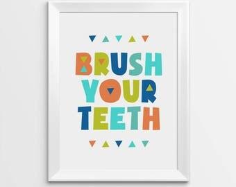 Printable Nursery Art, Brush your teeth, Kids Bathroom Decor, Art for kids, Printable Art, Kids Poster, Toilet sign, Nursery Printable