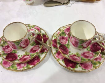 "1x Tea cup and saucer and cake plate Royal Albert ""Old English Rose"""