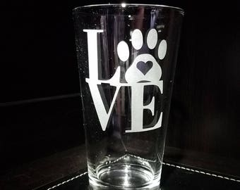 Animal Love Hand Etched Pint Glass