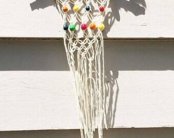 Colorful beaded macrame hanging