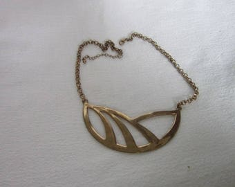 Modern Retro Very Large Gold Brass Pendant Necklace