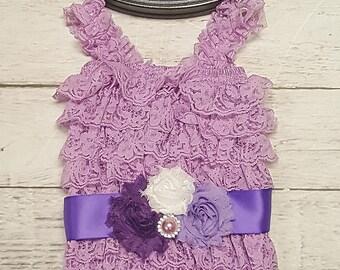 Baby Girls Lace Romper Set Sash Headband Romper Set, Lavender Purplebaby outfit-yellow sunshine 1st BIRTHDAY or CAKE SMASH