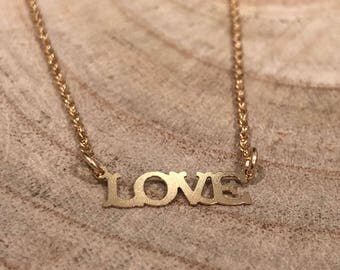 Love word necklace, love necklace , hold love necklace