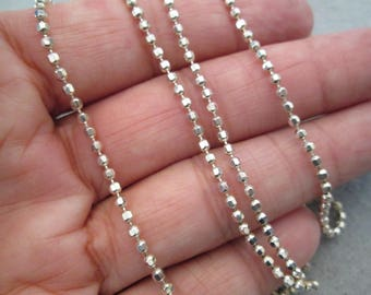 "Italian X-tra Long Sterling Silver Tiny Ball Chain>> 60"" long!! > Vintage 1980's, new old stock, never worn> So many ways to wear this!!"