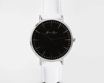 Ladies Watch, Women Leather bracelet, minimalist, gift for her, cheap leather watch, Christmas Watch, White Leather (Silver/Black)