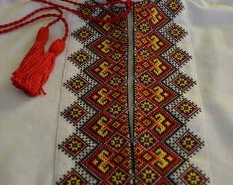 Embroidered Shirt for Boys and Adult Men Red and Yellow Embroidery Shirt Ukrainian Handmade Vyshyvanka Embroidery patterns