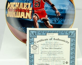 Upper Deck Limited Edition Michael Jordan 6 Time NBA Champion Collectors Plate