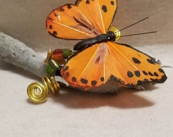 Orange Butterfly with Accent Beads Braid or Loc Jewelry