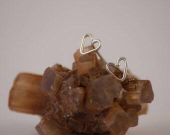 Tiny Silver Heart Earrings, Recycled Heart Earrings, Silver Love Earrings, Simple Heart Earrings, Heart Shape Earring, Wire Heart Earrings