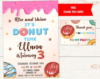 Donut birthday party invitation Donut birthday invitation Donut invite Twins Donut party First birthday outfit party supplies Thank you card