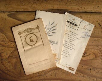 Set of 3 vintage French table menu cards, 1924, 1956, 1961