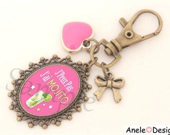 Keychain jewelry bag green stars pink Mojito cocktail tassel heart bow