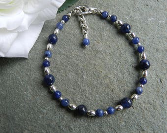 Sodalite Gemstone Jewellery, Sodalite Beaded Bracelet, Blue Sodalite Bracelet, Birthday Gift, Anniversry, Bridesmaid,