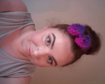 Pink and Purple Wool Hair Bow