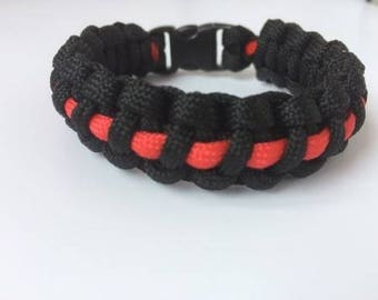 Paracord Survival Bracelet Cobra Thin,550 paracords,black and red,paracords firefighters
