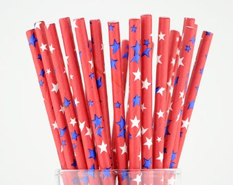 Blue/White Stars Red Paper Straws - Party Decor Supply - Cake Pop Sticks - Party Favor