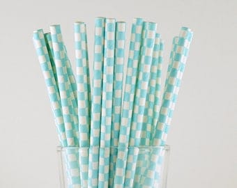 Light Blue Checkered Paper Straws - Party Decor Supply - Cake Pop Sticks - Party Favor