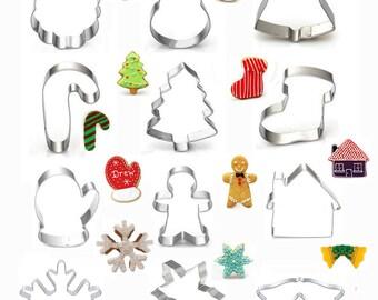 Christmas Cookie Cutters, Santa Cutter, Jingle Bell Cutter, Snowman Cutter, Xman Cutter, Fondant Biscuit Mold, Pastry Baking Tool