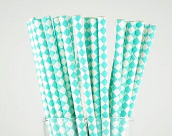 Turquoise Color Diamond Paper Straws - Mason Jar Straws - Party Decor Supply - Cake Pop Sticks - Party Favor