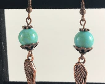 Turquoise Bead Earrings with Wing