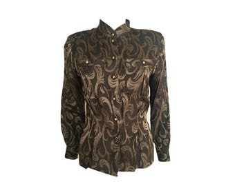 Vintage 80's Liz Claiborne Brown Metallic Top