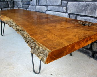 Custom made Live Edge Solid Wood Coffee Table - End Table - Desk - Console Table- TV table, TV stand - Wood Slab- Dining Table