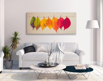 Leaves Hanging Canvas Abstract Multi Colour Panorama Wall Art Picture Home Decor