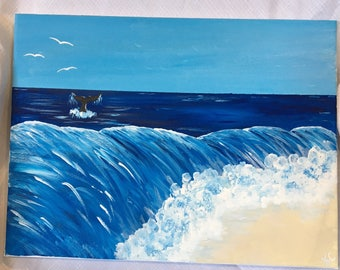 Beach painting, whale painting, seascape painting, ocean painting, seaside painting, wave painting, australian beach painting,