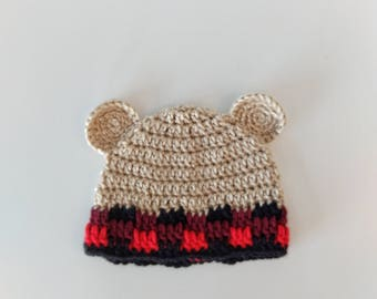Crochet Bear Hat - Bear Hat - Baby hat - Ready to ship - Plaid Bear hat - Plaid hat - handmade hat - crochet plaid hat -  Brown Bear hat