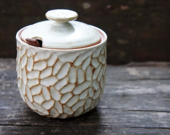 Moon Feather Jar (with Lid and Spoon Rest)