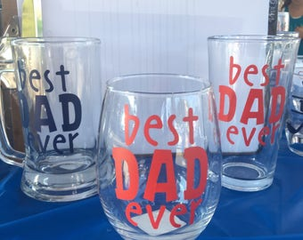 Dad glasses-dad gifts-beer glasses-best dad ever-dad wine glass-Dad Christmas Gift-Holiday Gift
