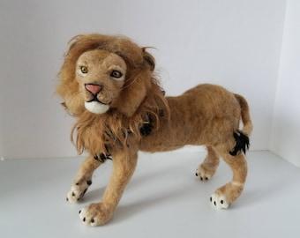 Needle felted Lion sculpture