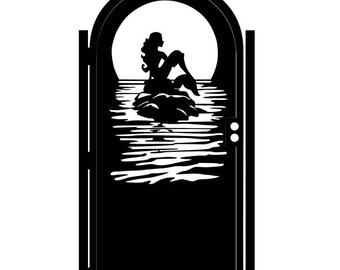 Artistic Steel Mermaid Gate - Outdoor Metal Art - Mermaid - Fantasy Mermaid Art - Ornamental Steel Gate - Decorative Fairy Tale Gate Art