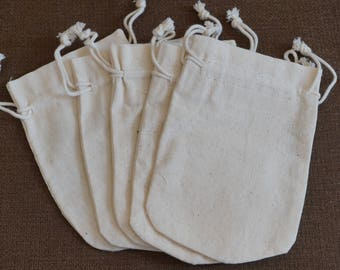 5 Muslin Draw String  Bags 5.5 x 3.5  Inches