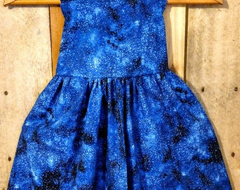 Toddler sundress,night sky,planets dress,outer space dress,party dress,stars dress,stars at night dress,twirly dress,stars and planets dress