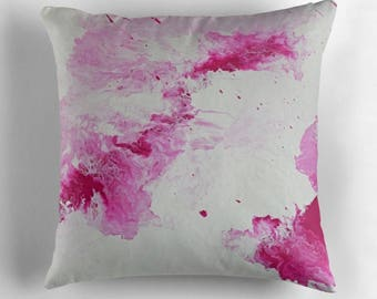 Original Art Print Throw Cushion. Pre Order, Custom Order. Large Raspberry.