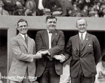 Reproduction photo of George Sisler, Babe Ruth and Ty Cobb
