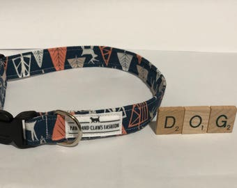 Dog/ Puppy collar - adventure time pattern deer and trees - extra small, small, medium, large, extra large - FREE SHIPPING