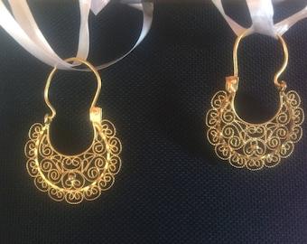 Oaxaca Arracadas Filigree Hoop Gold Vermeil Over Sterling Silver Earrings