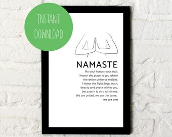 Namaste Print / Typography Wall Art / Printable Poster / Yoga / Instant Download