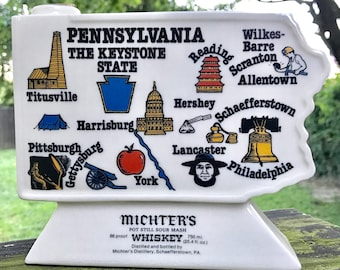 Vintage 1960's Michter's Whisky Decanter of Pennsylvania